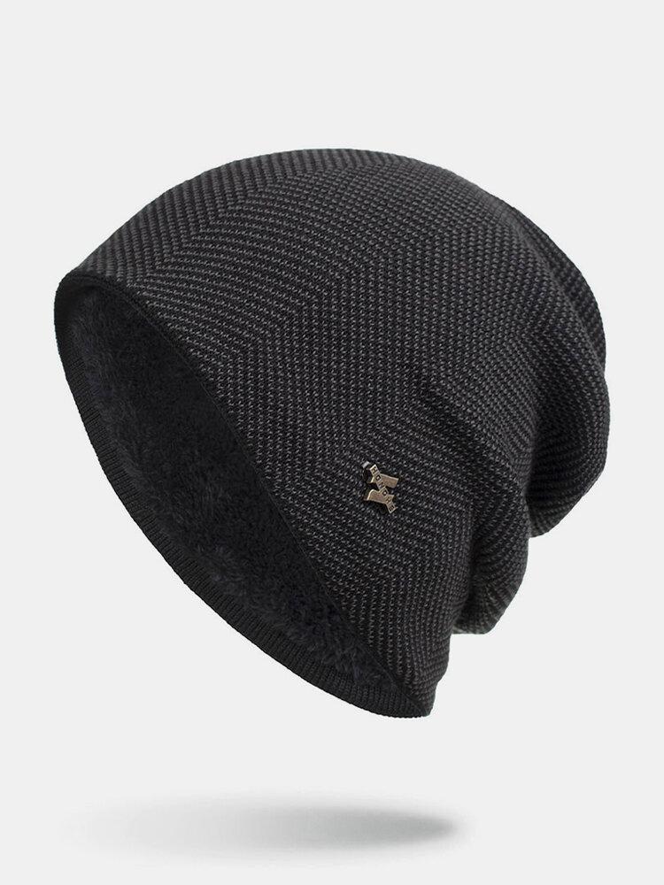 Men Winter Plus Velvet Striped Pattern Outdoor Knitted Warm Beanie Hat