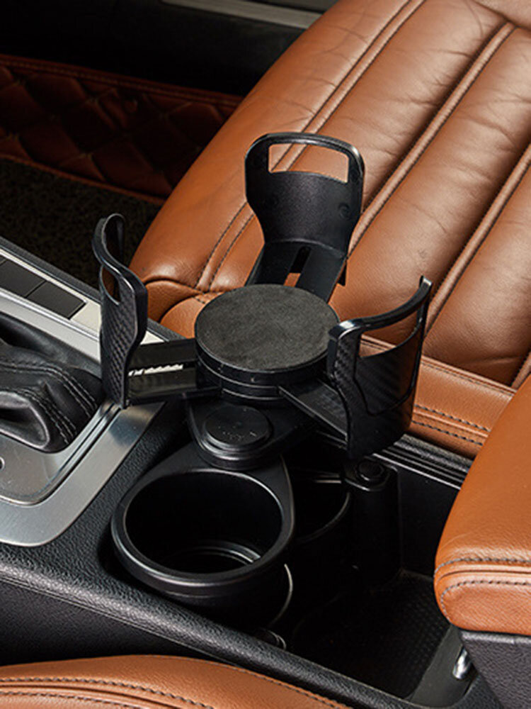1PC 2-In-1 Vehicle-mounted Slip-proof Adjustable Expand Cup Holder 360 Degree Rotating Water Beverage Car Cup Holder Organizer Multifunctional Dual Houder Auto Accessory