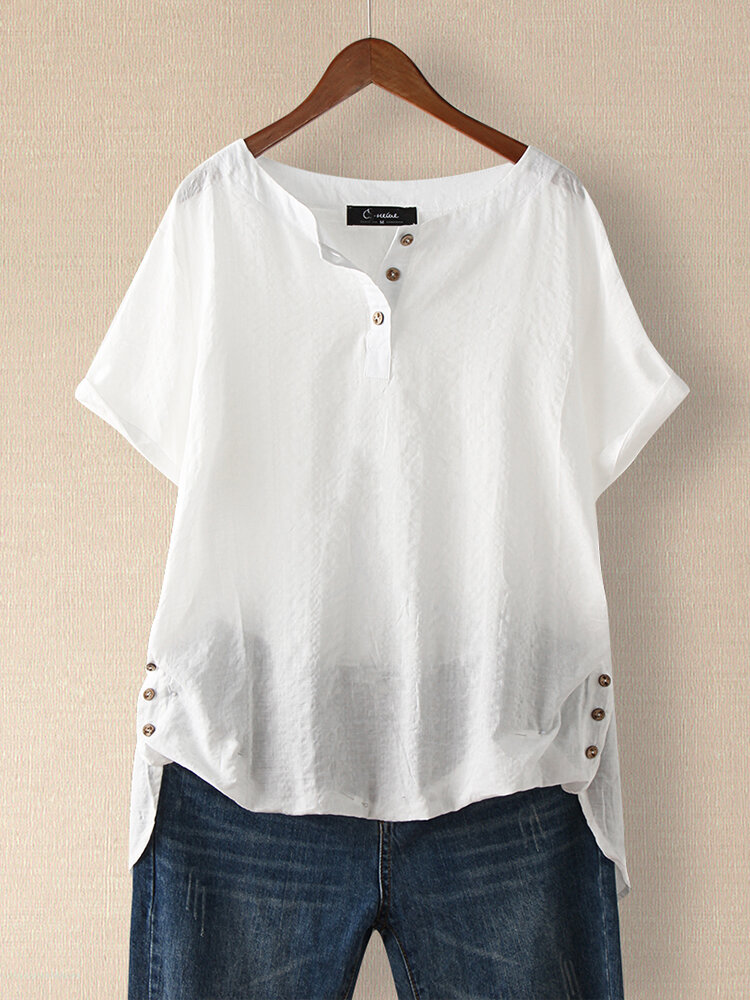 Casual Plaid Short Sleeve Irregular T-Shirt For Women