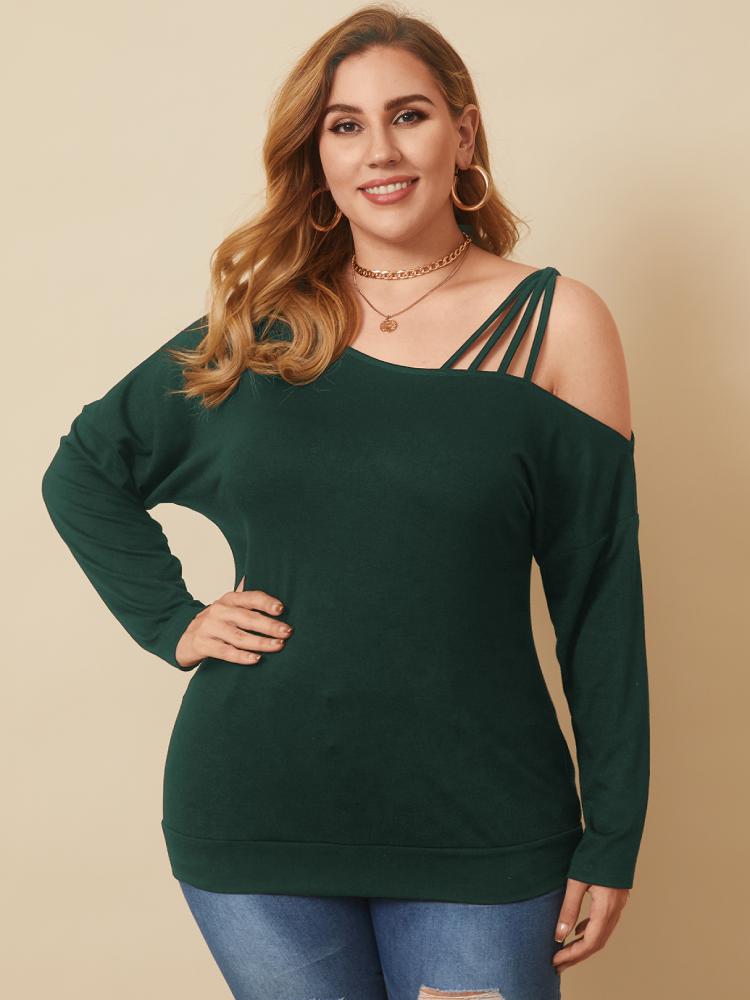 Solid Color Off Shoulder Long Sleeve Plus Size Blouse for Women