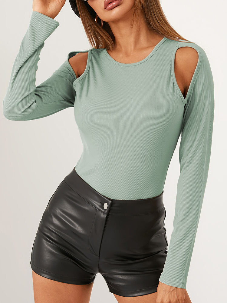 Solid Color Long Sleeve O-neck Off Shoulder Casual T-Shirt For Women