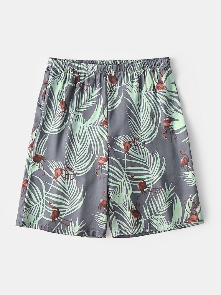 Men Summer Tropical Pattern Sleep Shorts Thin Flamingo and Plants Print Home Shorts