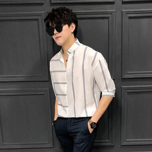Season New Men's Men's Loose Five-point Sleeves Striped Shirt Youth England Wild Sleeves Shirt Tide