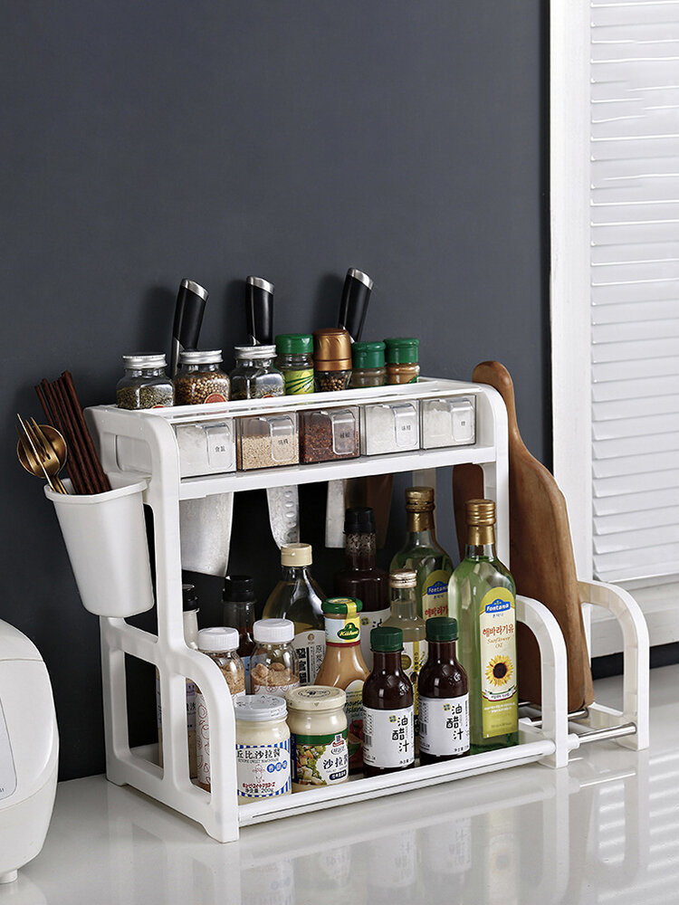 Kitchen Shelf Double-layer Spice Rack With Five-grid Seasoning Box Multi-function Rack With Cutting Board Rack And Knife Rack