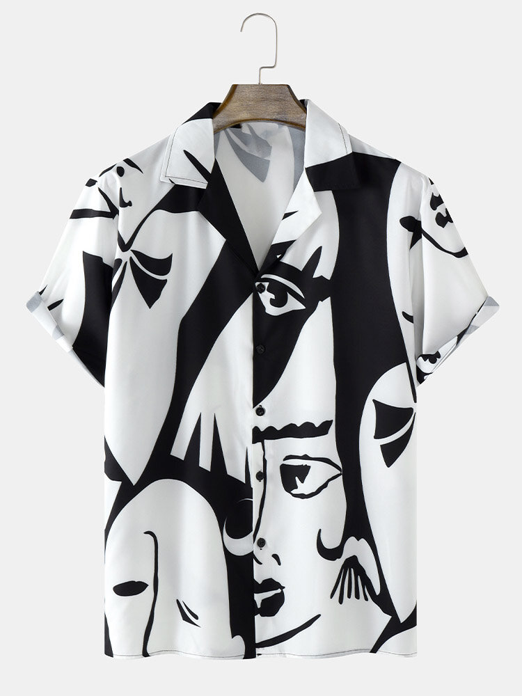 Mens Abstract Face All Over Print Street Short Sleeve Shirts