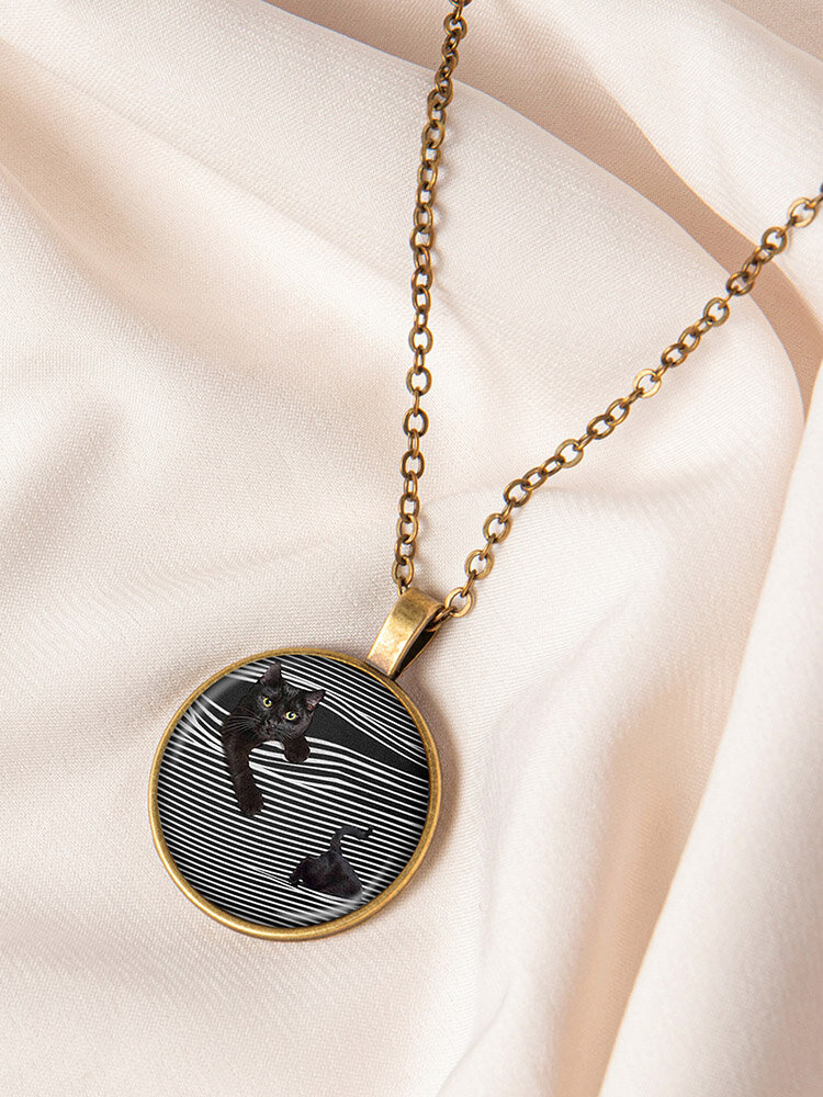 Metal Round Glass Cat Stick Out Head Print Women Necklace