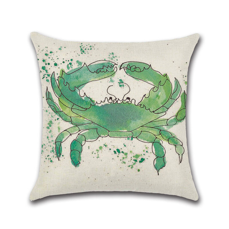Sea Turtle Crab Whale Cotton Linen Cushion Cover Cartoon Color Water Printed Square Pillowcase