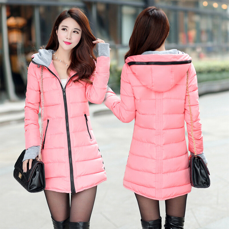 Long Section Cotton Gloves Slim Hooded Down Coat