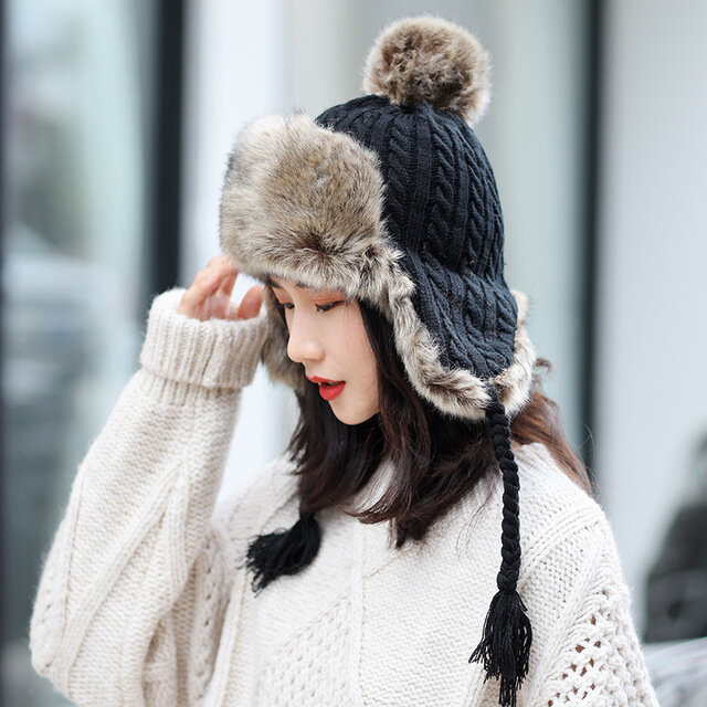 Thick Warm Earmuffs Knitted Wool Hat Casual Women's Caps