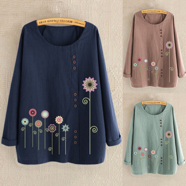 European And American Season New Women's Flower Print Button Decoration Loose Long-sleeved T-shirt