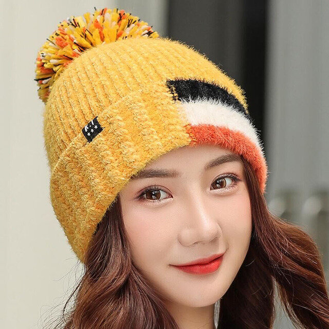 Two-color Stitching Knit Hat Wild Warm Earmuffs Fur Ball Hat