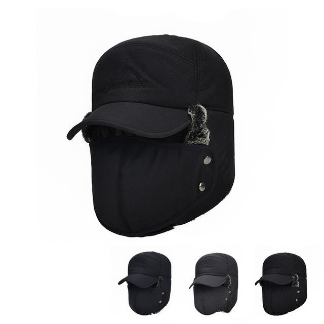 Men's Trapper Hat Cotton Hat Protection Earmuffs Thicken Warm Hat Russian Winter Hat