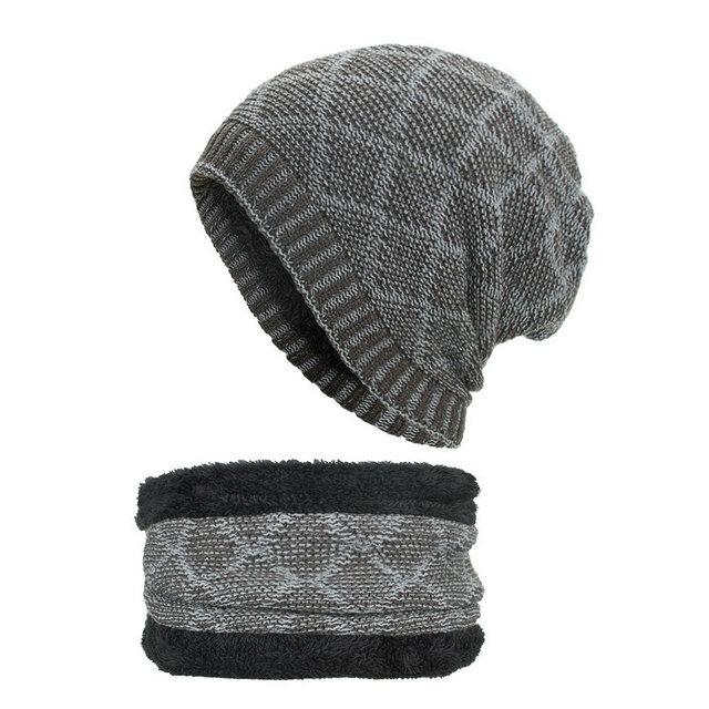 Women Men Double Color Collar Head Cap Knit Hat Warm Caps Beanie Hats