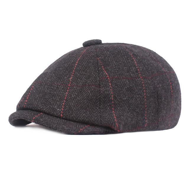 Octagonal Cap Men's Beret Season Woolen Newsboy hat