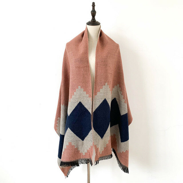 Pink Plaid Scarf Cashmere Scarf Extra Long Thick Warm Shawl