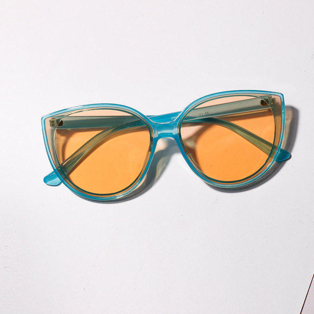 Round Color Large Frame Sunglasses Round Frame Cat's Eyes Retro Trend