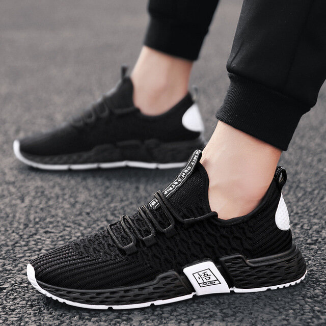 Men's Shoes Season New Mesh Sports Shoes Fashion Flying Woven Low To Help Tie Casual Shoes Men's Shoes