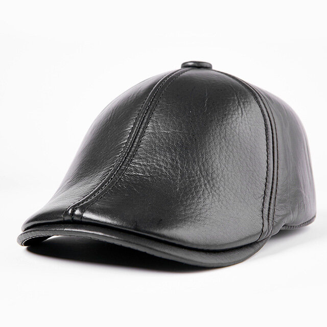 Cowhide Men's Caps Day Leather Old Hat Middle-aged Hat Men's Season Cotton Cap Thickening