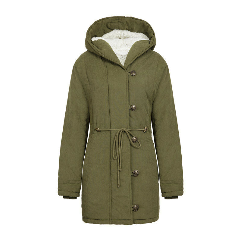 Cotton A Long Section Drawstring Hooded Lamb Cashmere Waist Coat