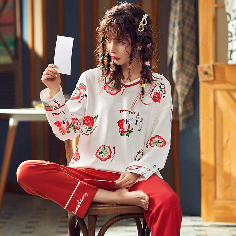 Pajamas Long-sleeved Cotton Thin Section Sweet Strawberry Two-piece Suit