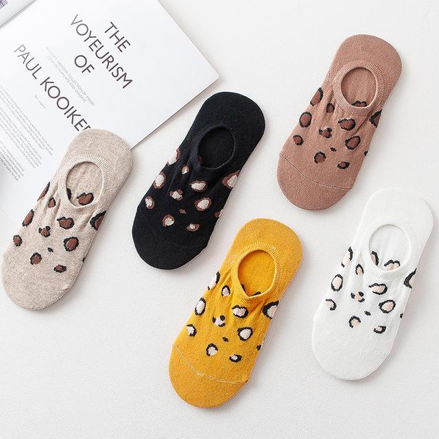 Leopard Socks Korea Japanese Boat Socks Women Fashion Cotton Socks Women