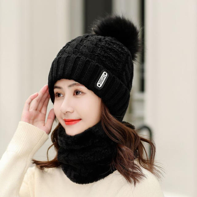 Thick Wool Hat Earmuff Hair Knitted Hat Scarf Caps Two-piece
