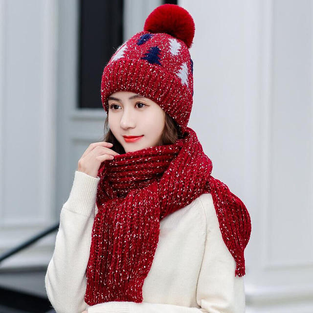 Thickening Christmas Wool Hat Wool Knit Hat Scarf Set