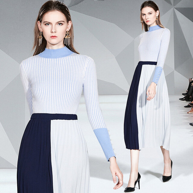 Royal Sister Suit Skirt Temperament Was Thin Knitted Shirt Pleated Skirt Fashion Two-piece Women