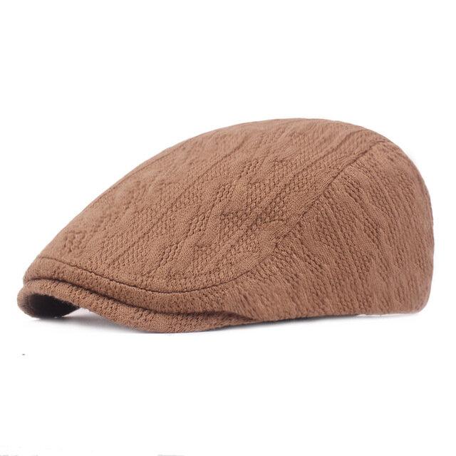 Men's Wool Cap Beret Thick Warm Forward Cap Knitted Cap