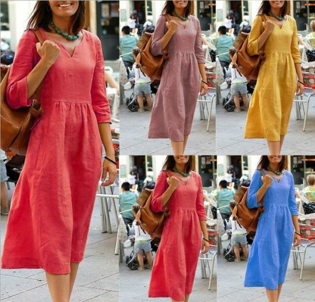 Casual Dress V-neck Cotton And Linen Dress