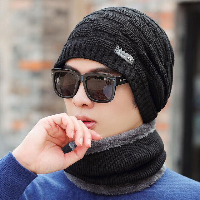 Men's Wool Hat Thick Warm Knitted Cycling Cold Cotton Cap