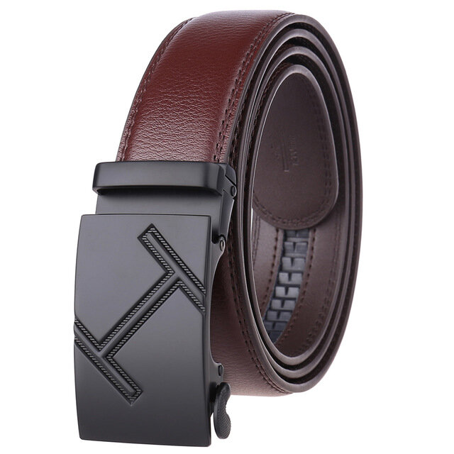 Business Simple Automatic Buckle Belt Men's Belt Two-layer Leather Leather Belt