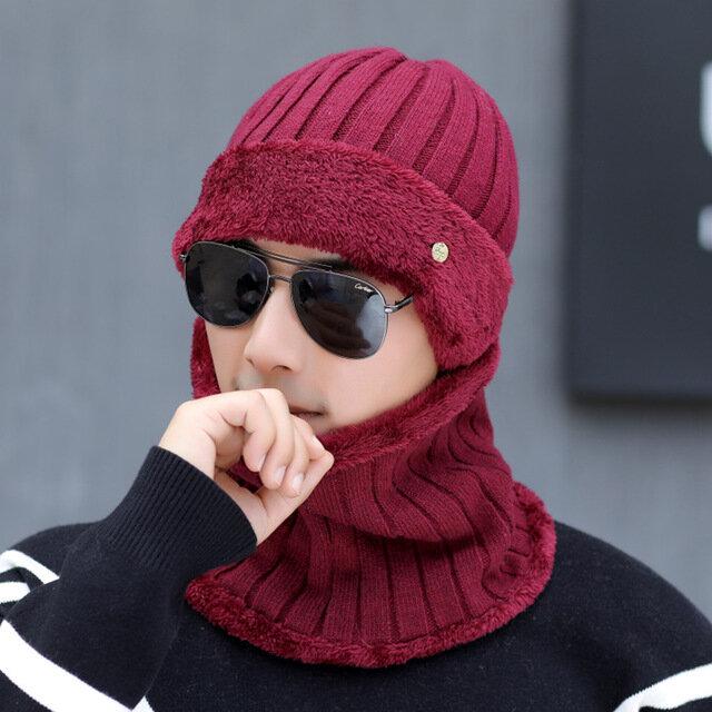 Berretti da uomo in lana con cappello e sciarpa in cashmere