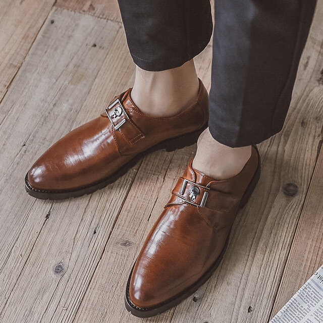 Business Dress Shoes Men's England Retro Wild Large Size Casual Shoes Trend Men's Pointed Shoes