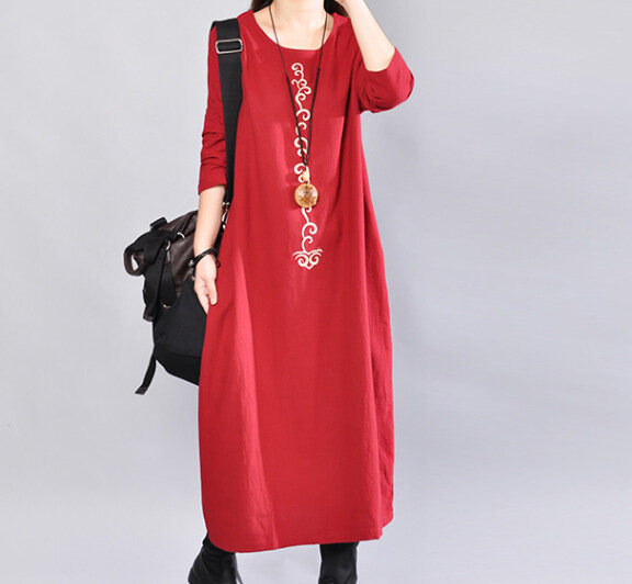 Women's Loose Round Neck Long Section Of Cotton And Linen Dress