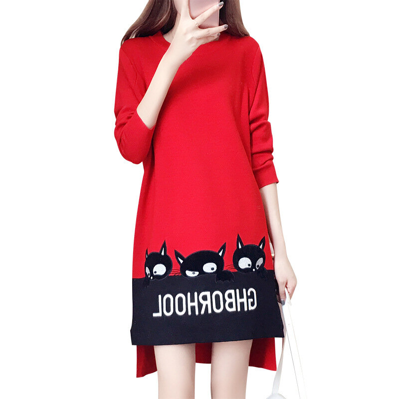 Women's Large Size Hit Color Long-sleeved Mid-length Split Fork Embroidery Sweater Dress