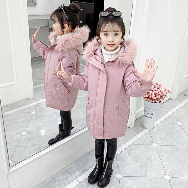 Girls Cotton Season New Long Section Thick Warm Down Hand Cotton Cotton Clothes One Over The Cotton