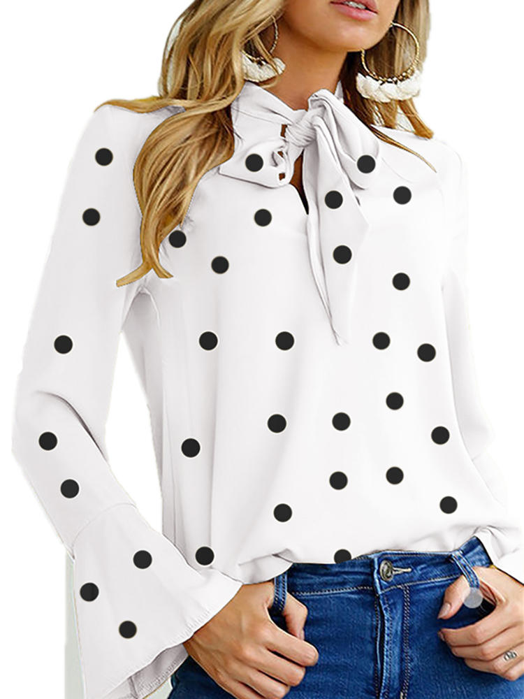 Women Polka Dot Bell Sleeve Lace-Up Blouse