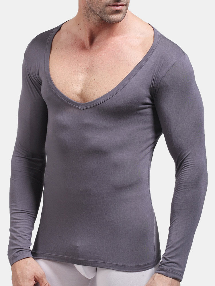 Men Modal Stretch Plain Thermal Undershirts V Neck Thin Breathable Thermal Long Johns Underwear