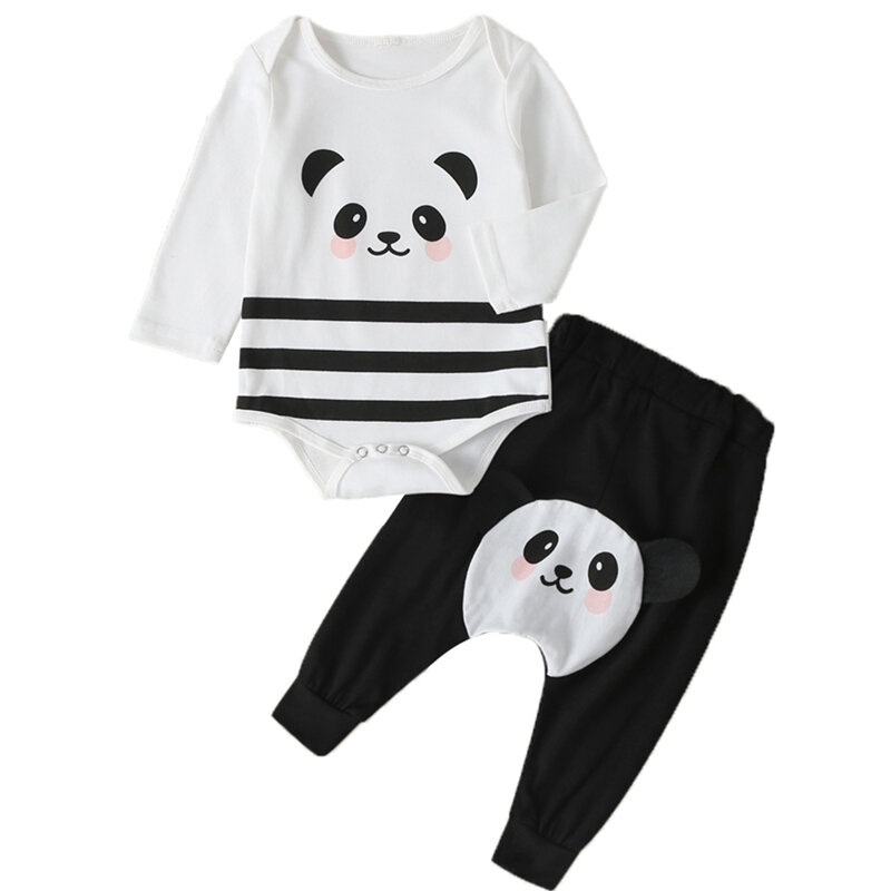 Baby Panda Striped Print Long Sleeves Casual Clothing Set For 0-18M