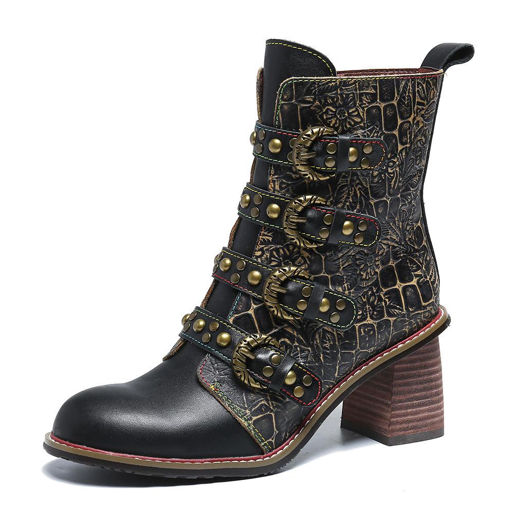 SOCOFY Retro Metal Buckle Rivet Genuine Leather Black Handsome High Heel Zipper Boots