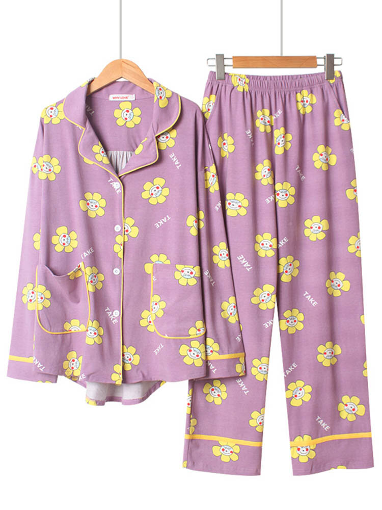 Cotton_Pajamas_Sets_For_Women_Sunflower_Print_Long_Loose_Sleepwear