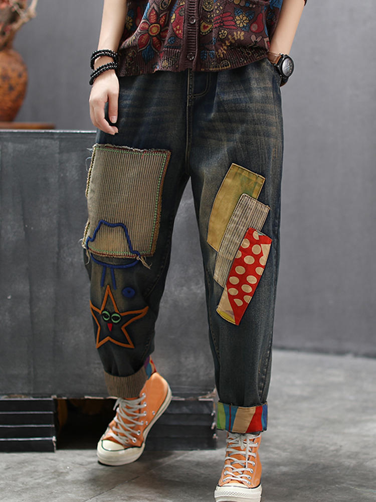 Star Embroidered Polka Dot Contrast Color Patch Jeans