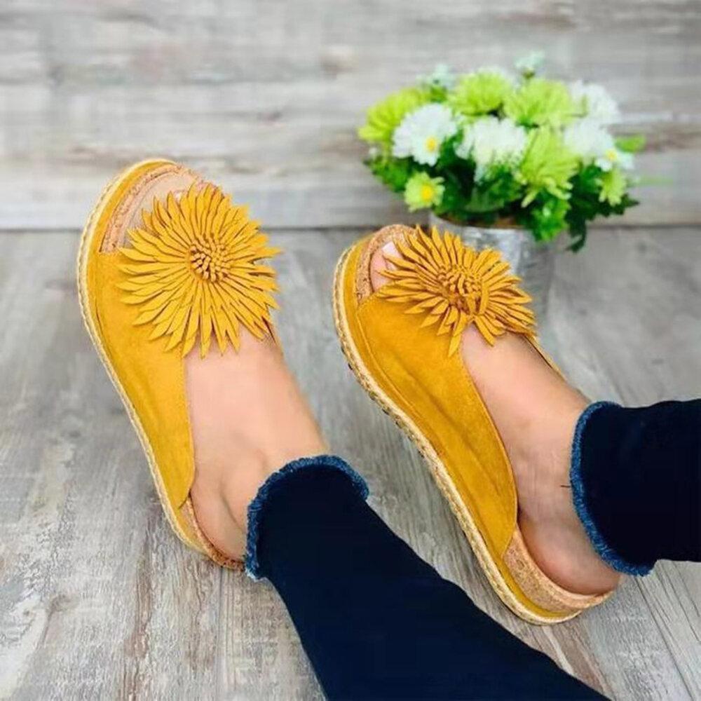 Large Size Damen Lässige Blumen Open Toe Platform Hausschuhe