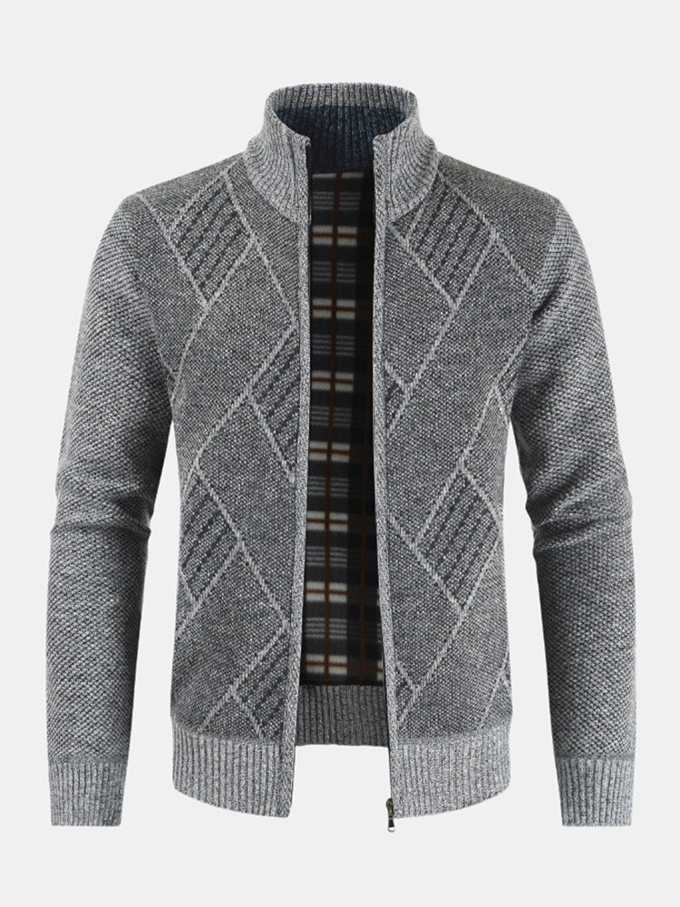 Mens Rhombic Embroidery Knitted Sweater Stand Collar Long Sleeve Coats