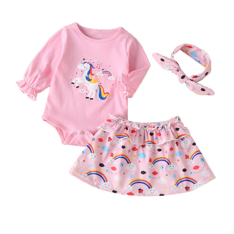 Baby Unicorn Rainbow Print Long Sleeves Casual Rompers Dress Set For 0-18M