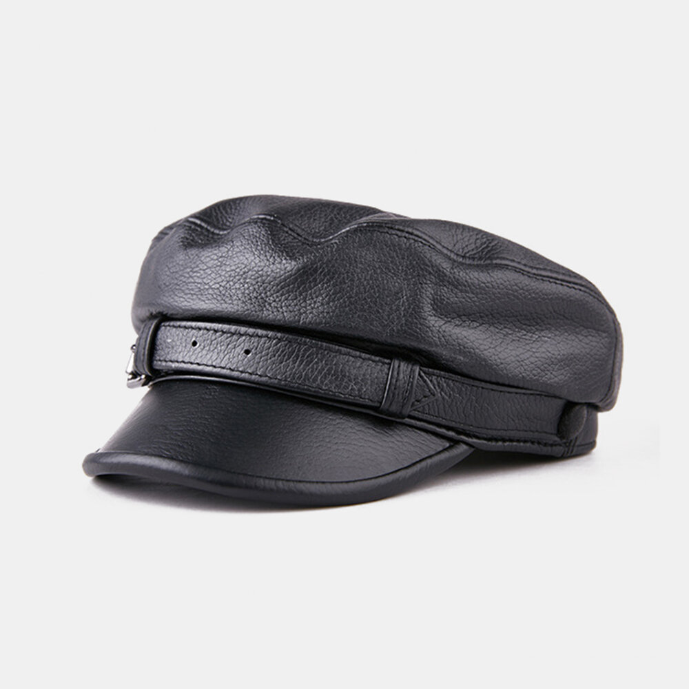 Casual_Leather_Hats_Goatskin_Hat_Flat_Top_Hat_Military_Cap_Beret_Hats