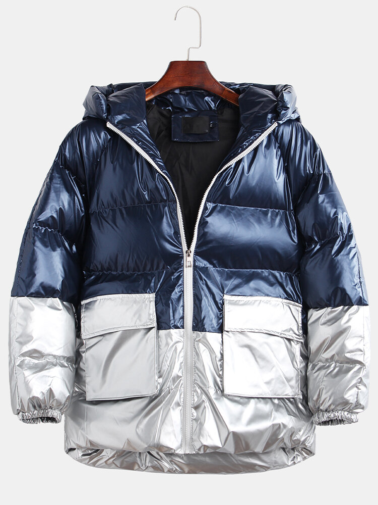 Men's Shiny Contrast Color Patchwork Thicken Hooded Fashion Design Zipper Casual Parka