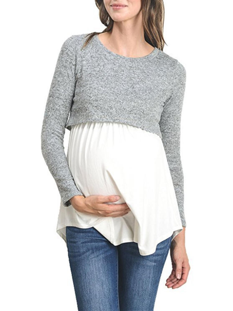 Multi-functional Maternity Cotton Patchwork Long Sleeves Casual Nursing Tops