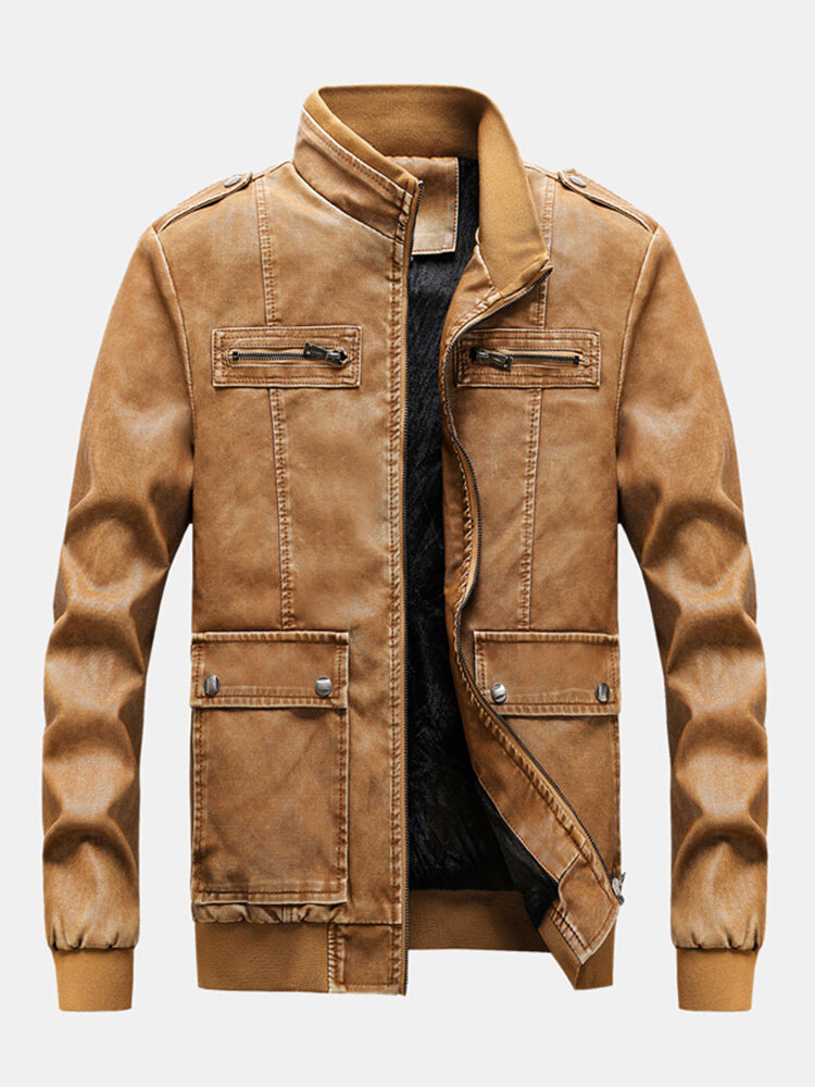 Mens Leather Fleece Lined Warm Coats Long Sleeve Slim Fit Leather Jackets